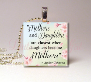 Mothers & Daughters Necklace Pendant - Mothers Day Quote Poem Jewelry ...