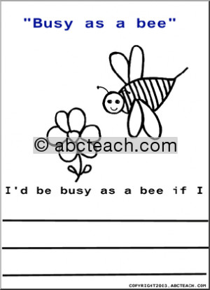 of 1 color and write sayings busy as a bee cute picture to color and