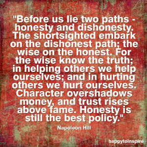 This quote clearly indicates the consequences of being honest in ...