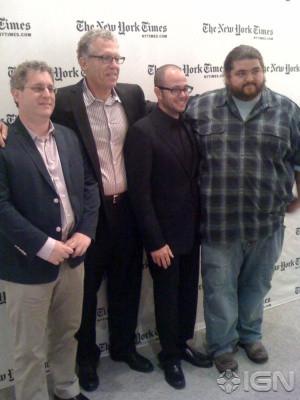 Moderator Lorne Manly with Carlton Cuse , Damon Lindelof and ...
