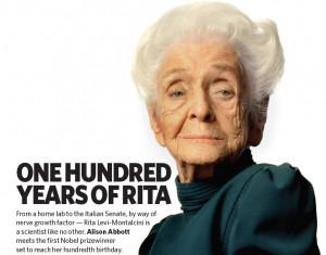 Rita Levi Montalcini , premio Nobel 1986 per la fisiologia e la ...