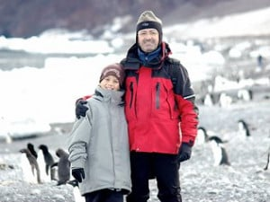 Andrew Denton with his son Connor in Antartica Picture Supplied
