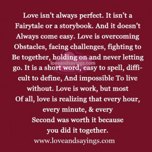 Love is overcoming Obstacles, facing challenges