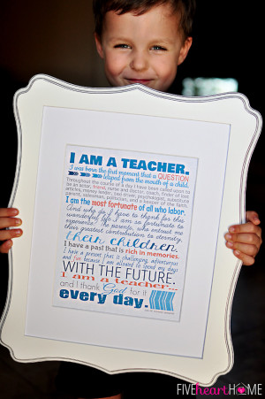 "... 10″ Print, Note Cards, & Gift Tags {""I Am a Teacher"" Quote"