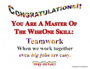 Congratulations You Are A Master Of The Wise One Skill, Teamwork When ...