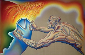... to Destruction - Acrylic and oil on Belgian Linen - Judy Chicago, 1986