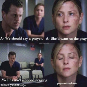 ... and Mark Sloan praying for Callie and her baby | Grey's Anatomy quotes