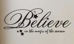 ... Quote Vinyl Sticker Art Lettering Large Believe Christmas Holiday C5