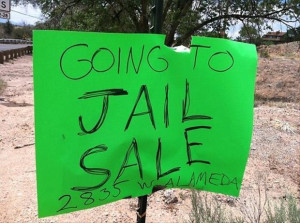 Adding humor to sell your old crap, Genius yard sale signs