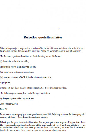 rejection quotations letter when a buyer rejects a quotation or other ...