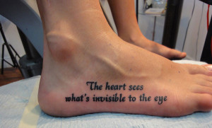 Fancy Inspirational Quote Tattoo on the foot