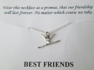 Gymnastics, Best Friend Necklace- Friendship Quote Card