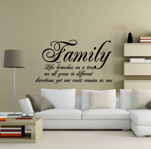 Family Roots Quote Vinyl Wall Art Decal - Black