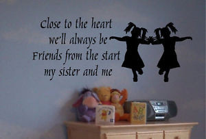 Twins Sisters Cute Silhouette Wall Quote Decor Decal