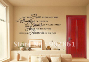 ... ]-Warm Home Blessing Quote Vinyl Wall Sticker Wall Quote 135x55cm