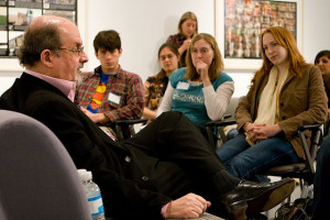 Photo: Salman Rushdie talks to students about his life and writings