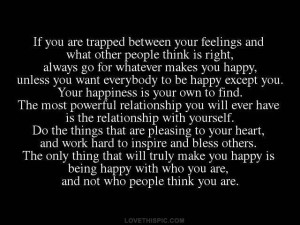 being happy with who you are