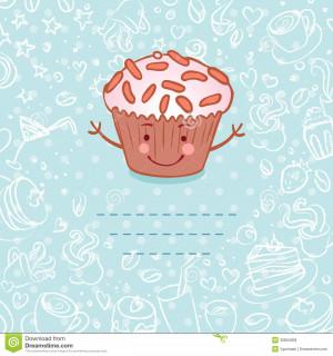 ... Stock Photos: Tea party invitation vintage style frame funny cupcake