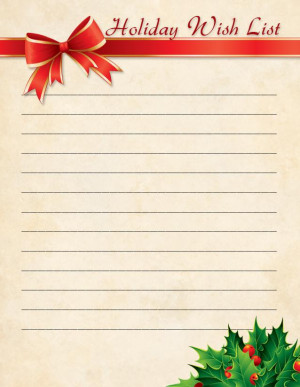 blank christmas wish list