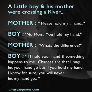 boy his mother were crossing a river mother please hold my hand boy ...