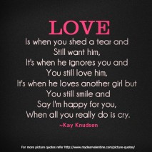 Love Hurts Quotes - Love is when you shed a tear and still want him