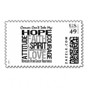 Cancer Can't Take My Hope Brain Cancer Postage Stamp