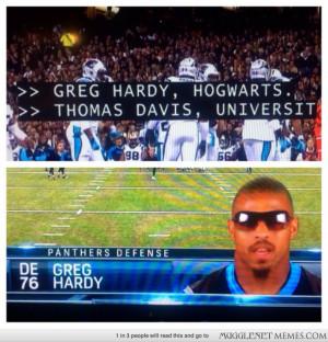 Carolina Panther Players alma mater is Hogwarts.