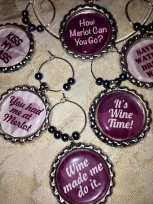 Custom Funny Wine Sayings Quotes Wine Charm Set