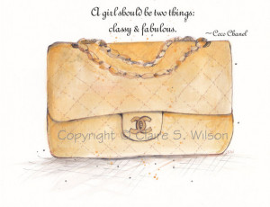 Gold Chanel Bag with Coco Chanel Quote - Art Print 5x7