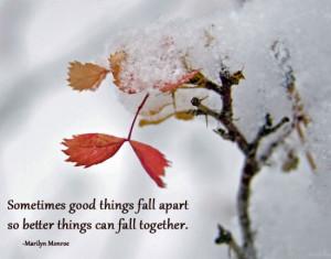 "Savvy Quote: ""Sometimes Good Things Fall Apart…"""