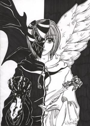 Half Angel Half Demon Face