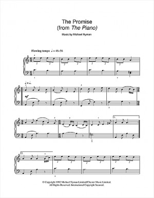 The Promise Michael Nyman Sheet Music