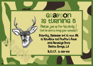 Camouflage Hunting Birthday Invitation with a Deer