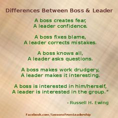 Twitter / LessonsLeaders: A boss creates fear, a leader ... More