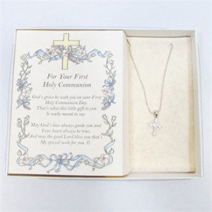 First Communion Gift Set Cross Necklace and Poem