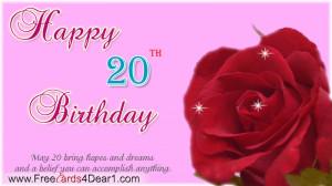 20th Birthday Greeting Ecard