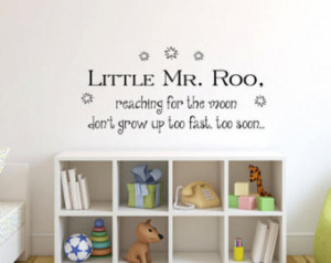 ... grow up too fast too soon Winnie the Pooh baby quote vinyl wall decal