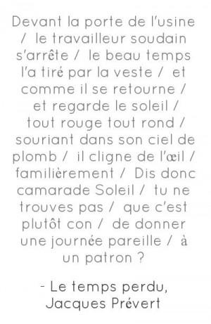 Le temps perdu, de Jacques Prévert