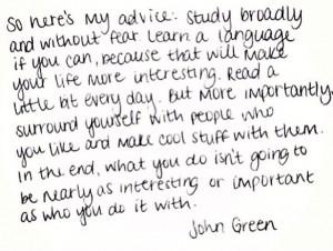 John Green quote - love