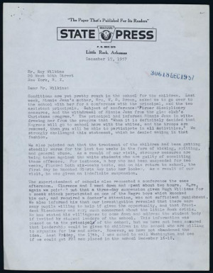 Daisy Bates to Roy Wilkins on the treatment of the Little Rock Nine ...
