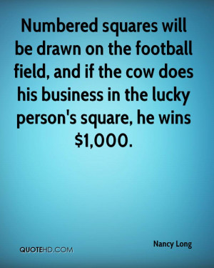 Numbered squares will be drawn on the football field, and if the cow ...