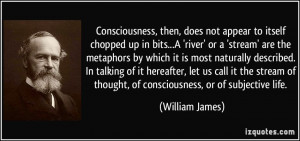 Consciousness, then, does not appear to itself chopped up in bits...A ...