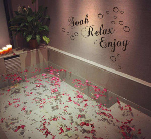 Soak relax enjoy wall quotes saying art stickers