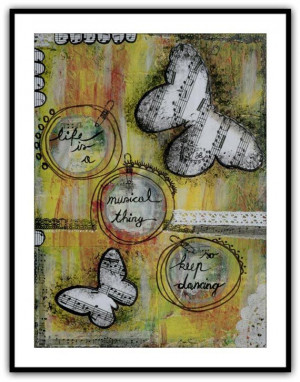 Collage painting with inspirational music quotes by LadyArtTalk, €16 ...