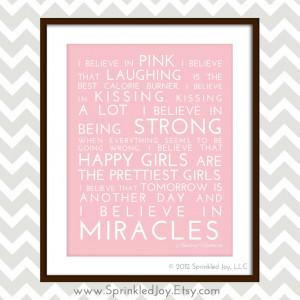 Believe in Pink - Audrey Hepburn Inspirational Quote, Modern 8x10 ...