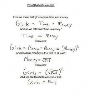 girl girls are evil - clever girl an equation that explains girls ...