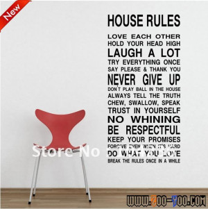 Discount:Hot HOUSE RULES English Quote/Vinyl Wall Decals :60*120cm/23 ...