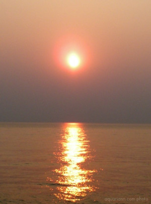 The sky broke like an egg into full sunset and the water caught fire.
