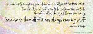 cover image with a parenting quote and advice to listen earnestly ...