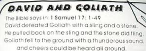 David and Goliath Scripture Placemat